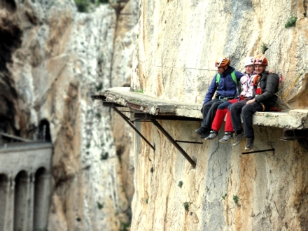 el caminito del rey in el chorro malaga sitting on damaged part