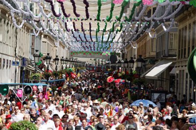 All People gather at LArios Street in Málaga Center for the Feria
