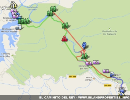 Map of Caminito del Rey in El Chorro Spain